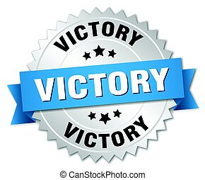 victory round isolated silver badge