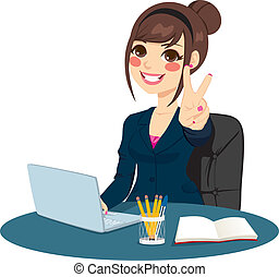 Victory Sign Businesswoman - Successful businesswoman making...