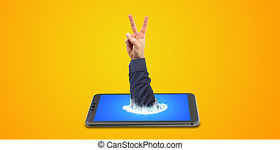victory sign by hand and smartphone 3D rendering