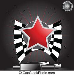 Victory Star on podium vector illustration