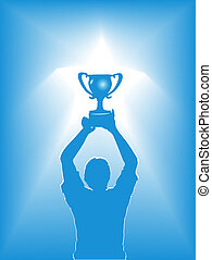 A victory winner & trophy in a star spotlight. Concept of people winning sports, business, life.