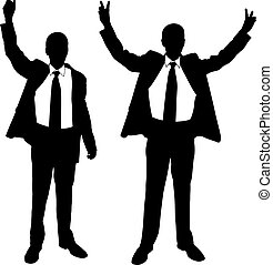 victory - silhouettes of men with hands in the air