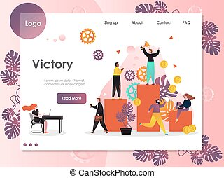 Victory vector website landing page design template