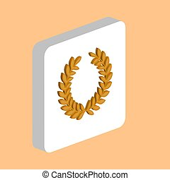 Victory Wreath Simple vector icon. Illustration symbol design template for web mobile UI element. Perfect color isometric pictogram on 3d white square. Victory Wreath icons for business project.