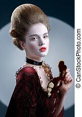 victotorian, lady., mulher jovem, em, décimo oitavo século,...