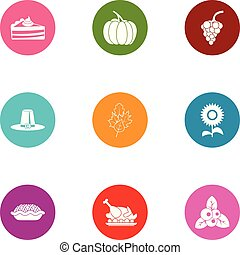 Victuals icons set, flat style - Victuals icons set. Flat...