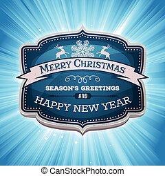 vidám, év, új, transzparens, karácsony, boldog