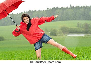 vidám, boldog, leány, az esőben