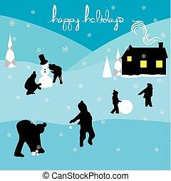vidám christmas, boldog, ünnepek, táj, 2