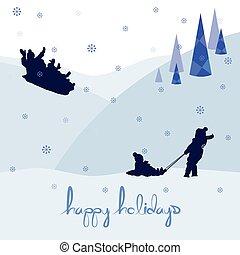 vidám christmas, boldog, ünnepek, táj