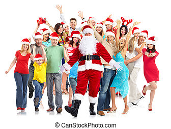 vidám christmas, emberek, group.