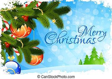 vidám christmas, kártya, köszönés