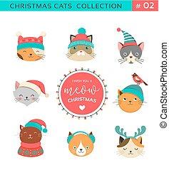 vidám christmas, köszöntések, noha, csinos, korbácsok, betűk, vektor, gyűjtés