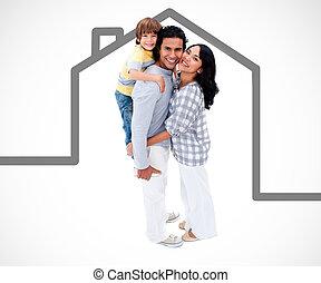 vidám család, álló, noha, egy, szürke, épület, ábra