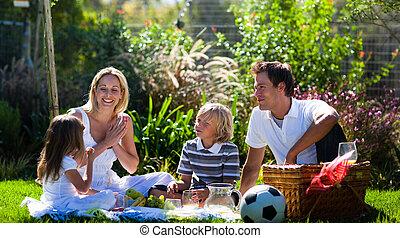 vidám család, élvez, a, nap, alatt, egy, piknik