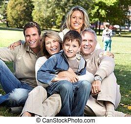 vidám család, alatt, a, park.