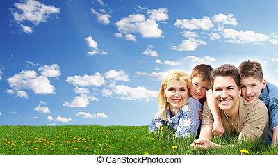 vidám család, bágyasztó, -ban, a, park.