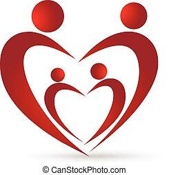vidám család, egyesítés, alatt, egy, szív, jel