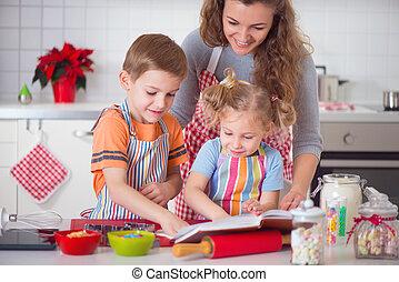 vidám család, előkészítő, süti, helyett, karácsonyeste
