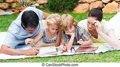 vidám család, festmény, alatt, egy, liget