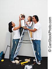 vidám család, festmény, egy, szoba