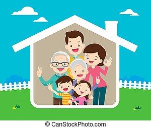 vidám család, fogalom, otthon