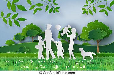 vidám család, gyalogló, képben látható, a, mező