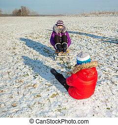 vidám család, having móka, alatt, a, snow., fivér lánytestvér, having móka, noha, egy, szánkó, alatt, a, winter., gyerekek, having móka, alatt, a, tél