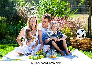 vidám család, having piknikel, alatt, egy, liget