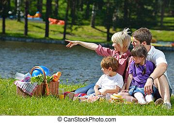 vidám család, játék együtt, alatt, egy, piknik, szabadban