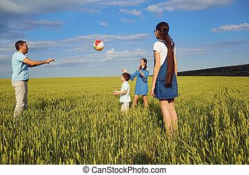 vidám család, játék, noha, labda, alatt, nyár, mező