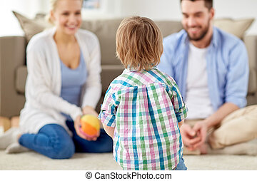vidám család, játék, noha, labda, otthon
