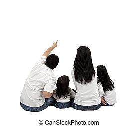 vidám család, képben látható, egy, white háttér