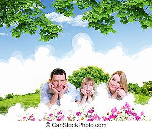 vidám család, költés, idő, együtt