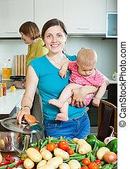 vidám család, közül, 3 nemzedék, főzés, noha, növényi