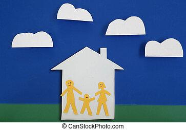 vidám család, közül, három, épület