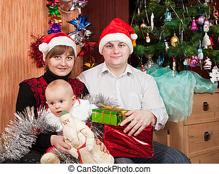 vidám család, közül, három, ünnepel christmas