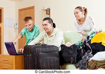 vidám család, közül, három, noha, tizenéves, vesz jelöltnévsor, felett, internet, bofore, szünidő