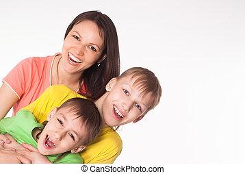 vidám család, közül, három