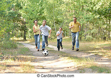 vidám család, közül, négy, játék