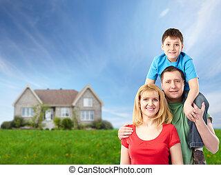 vidám család, közel, új, house.