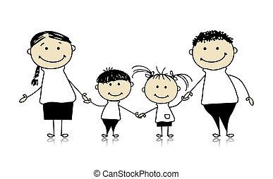 vidám család, mosolygós, együtt, rajz, skicc