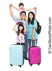 vidám család, noha, bőrönd, folytatódik holiday