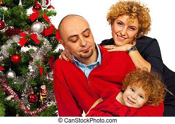 vidám család, noha, karácsonyfa