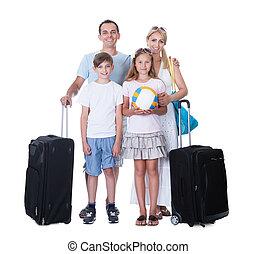 vidám család, noha, poggyász, haladó, helyett, szünidő