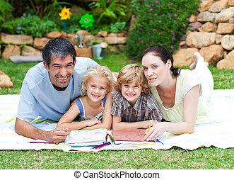 vidám család, rajz, alatt, egy, liget