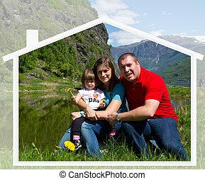 vidám család, spends, idő, együtt, képben látható, természet