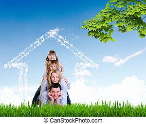 vidám család, spends, idő, együtt