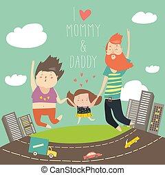 vidám, család, van, jumping., apuka, anyu, és, lány, hatalom kezezés, ugrás