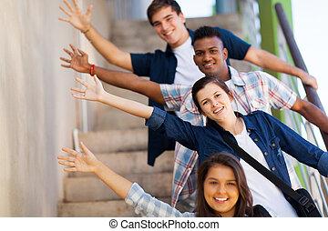 vidám, diákok, tizenéves, csoport